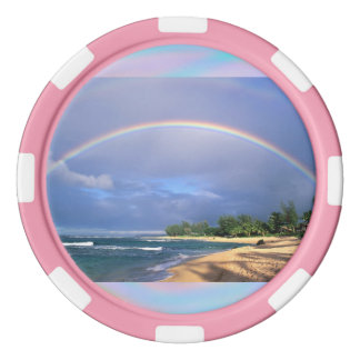 Poker Chips with a Beach Side Rainbow