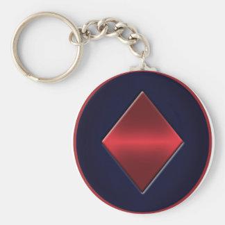 Poker Diamond Basic Button Keychain