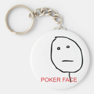 Poker Face Basic Round Button Key Ring