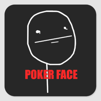 Poker Face - Black Square Stickers