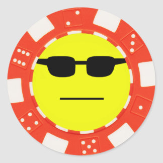 poker face classic round sticker