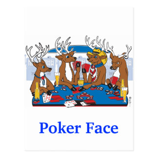 Poker Face Deer Postcard