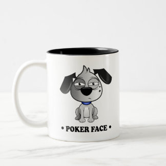 'Poker Face' Fluff Dog Tow Tone black Mug