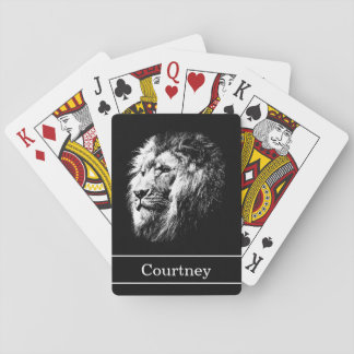 Poker Face Lion with Name on Black Playing Cards