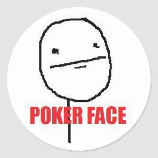 Poker Face Meme Classic Round Sticker