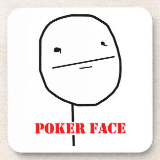 Poker face - meme drink coasters