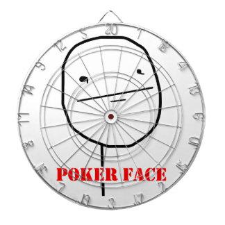 Poker face - meme dartboard with darts