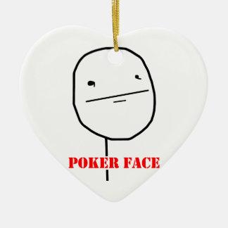 Poker face - meme Double-Sided heart ceramic christmas ornament