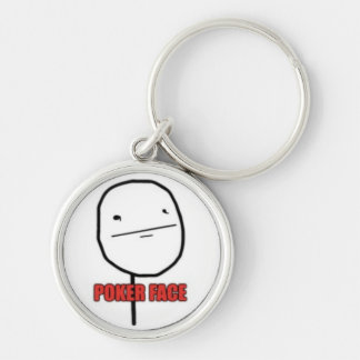 Poker Face Silver-Colored Round Key Ring
