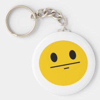 Poker Face Smiley Basic Round Button Key Ring