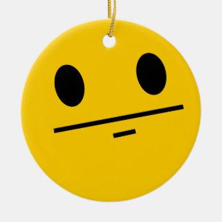 Poker Face Smiley face Ceramic Ornament
