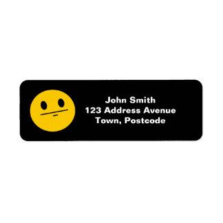 Poker Face Smiley face Return Address Label