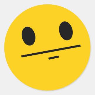 Poker Face Smiley Round Sticker