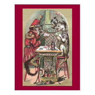 Poker Game Between Monkey & Bulldog Postcard