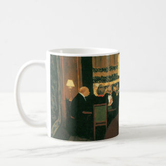 Poker game painting by Vallotton players at table Basic White Mug