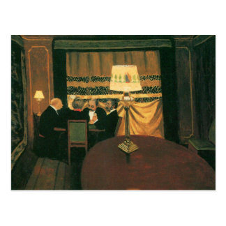 Poker game painting by Vallotton players at table Postcard