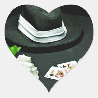 Poker gangster gun rose heart sticker