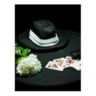 Poker gangster gun rose postcard