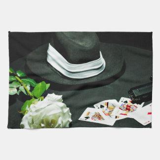Poker gangster gun rose tea towel