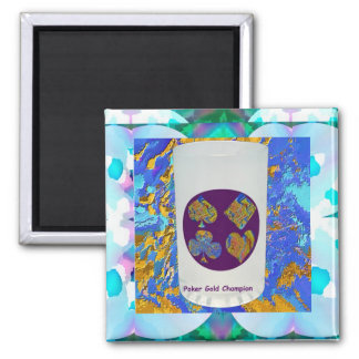 Poker Gold Champion Glass Square Magnet