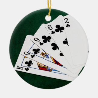 Poker Hands - Flush - Clubs Suit Ceramic Ornament