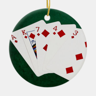 Poker Hands - Flush - Diamonds Suit Ceramic Ornament