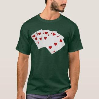 Poker Hands - Flush - Hearts Suit T-Shirt