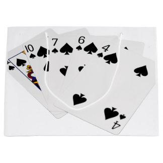 Poker Hands - Flush - Spades Suit Large Gift Bag