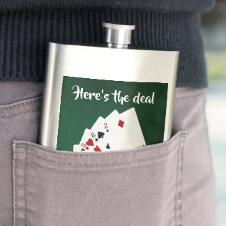 Poker Hands - One Pair - Jack - Here is the deal Hip Flask
