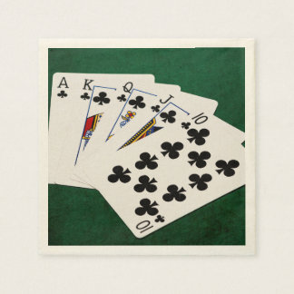 Poker Hands - Royal Flush - Clubs Suit Disposable Serviette