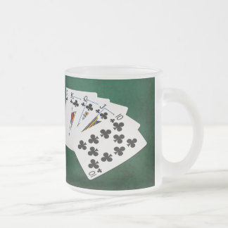 Poker Hands - Royal Flush - Clubs Suit Frosted Glass Coffee Mug