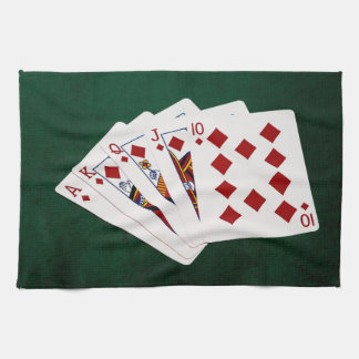 Poker Hands - Royal Flush - Diamonds Suit Tea Towel
