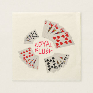 Poker Hands - Royal Flush Disposable Serviettes