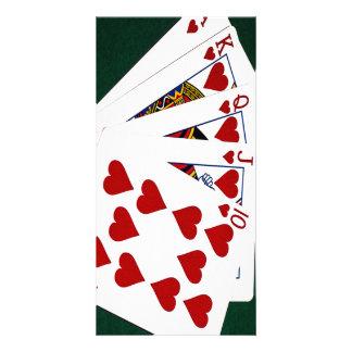 Poker Hands - Royal Flush - Hearts Suit Photo Card