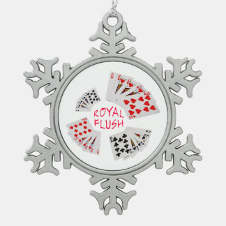 Poker Hands - Royal Flush Pewter Snowflake Decoration