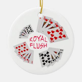 Poker Hands - Royal Flush Round Ceramic Decoration