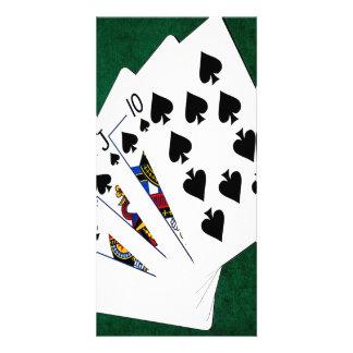 Poker Hands - Royal Flush - Spades Suit Photo Card