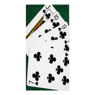 Poker Hands - Straight Flush - Clubs Suit Photo Greeting Card
