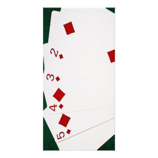 Poker Hands - Straight Flush - Diamonds Suit Custom Photo Card