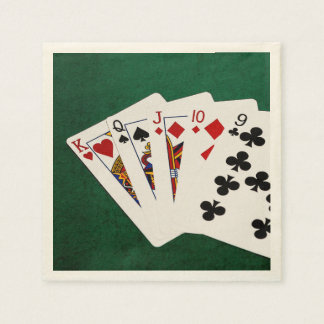 Poker Hands - Straight - King To Nine Disposable Serviette