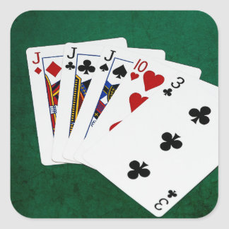 Poker Hands - Three Of A Kind - Jack Square Sticker