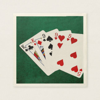 Poker Hands - Two Pair - King, Nine Disposable Napkins
