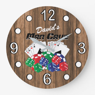 Poker Night at the Man Cave on Wood Large Clock