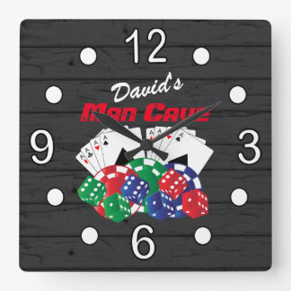 Poker Night at the Man Cave Square Wall Clock