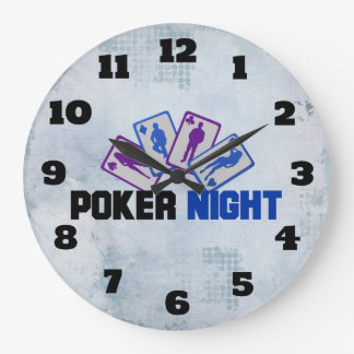 Poker Night with Playing Card in Blue and Purple Large Clock