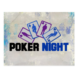 Poker Night with Playing Card in Blue and Purple Postcard