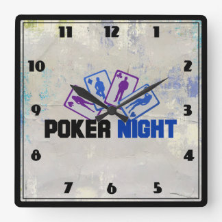Poker Night with Playing Card in Blue and Purple Square Wall Clock