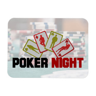 Poker Night with Playing Cards and Poker Chips Magnet