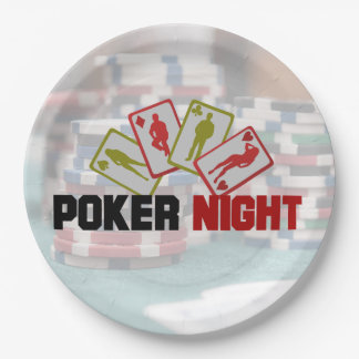 Poker Night with Playing Cards and Poker Chips Paper Plate