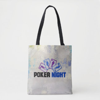 Poker Night with Playing Cards on Grunge Texture Tote Bag